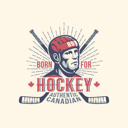 Sports print mascot with hockey player and sticks in vintage style Stock Photo - 108470186