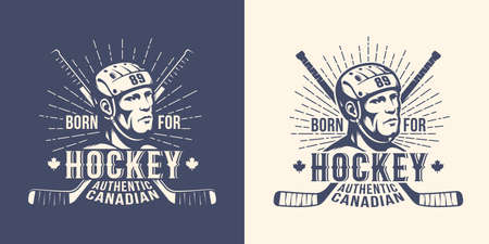 Hockey retro vintage logo with player head and crossed sticks Stock Photo - 108470187