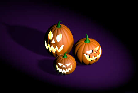 Group of different halloween pumpkins characters on a dark background - realistic 3d illustration Фото со стока - 108301899