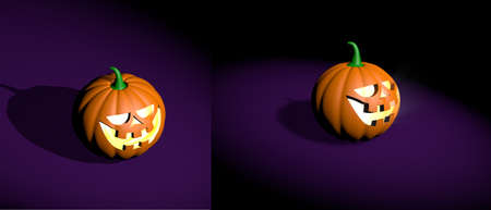 Halloween realistic funny pumpkin 3d rendered in different angles Stock Photo - 108301900