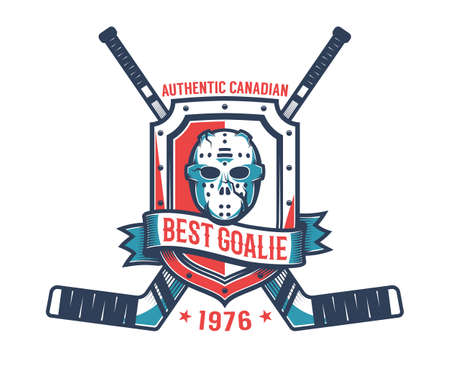 Retro logo of the hockey goalkeeper - vintage goalie mask,  knight's shield and crossed sticks. Stock Vector - 108964541