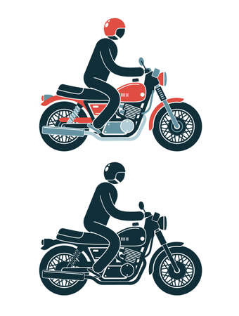 Abstract pictogram biker rides a classic motorcycle. Color and monochrome vector illustration. Stock Vector - 108962917