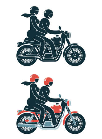 Motorcyclist with a passenger girl on a classic motorcycle. Pictogram people icon. Stock Vector - 108964545
