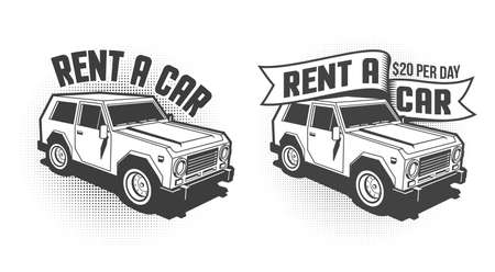 Rent a car retro vintage signboard, emblem with 3d SUV. Monochrome vector illustration. Stock Vector - 108964546