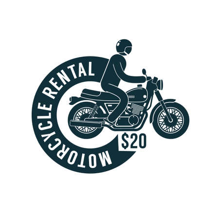Motorbike rental -  simple logo template with motorcyclist and  ribbon. Illustration