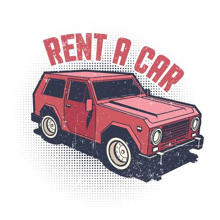 Car rental old school emblem Illustration