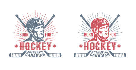 Hockey canadian badge with player and sticks Stock Vector - 109074217