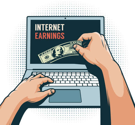 Online earnings concept retro illustration Stock Vector - 109074221