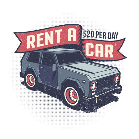 Car rental retro logo with SUV Illustration