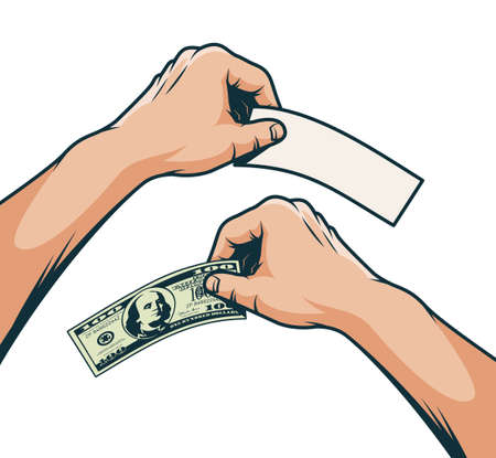 Hand with a hundred dollar bill - color illustration in retro pop art style. Stock Vector - 109005095