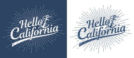 Hello California vintage stamp print in hipster style. Worn texture on a separate layer. Stock Vector - 109572087