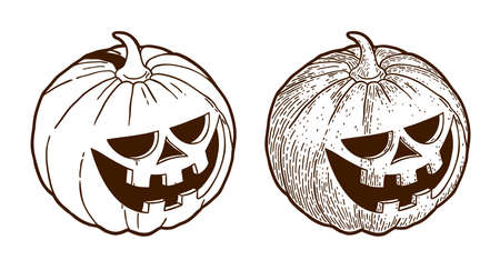 Retro monochrome drawing engraving halloween pumpkin Illustration