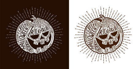 Halloween lettering pumpkin - hand-drawn vector hipster illustration with lettering. Stock Vector - 113767177