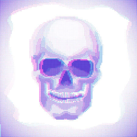 Cyberpunk Skull Anaglyph effect vector halftone image