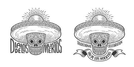 Skull in sombrero decorated with patterns Illustration