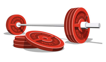 Weightlifting barbell with a stack of red discs. 3D vector illustration.
