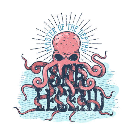 Sea legend octopus master of the depths lettering. Stock Vector - 110066245
