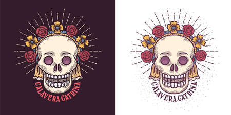 Day of the dead sugar skull Ñatrina symbol Illustration