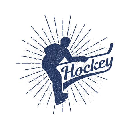 Hockey logo in retro vintage stamp style - player silhouette with  stick and an inscription. Stock Vector - 110946327