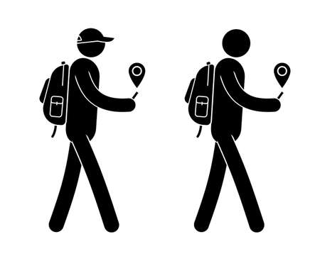 Pictogram man with small backpack is guided along the GPS navigator in a smartphone. Vector people icons.