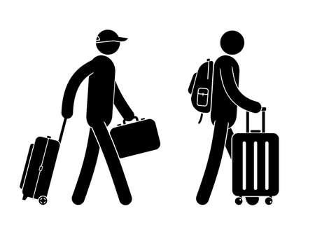 Pictogramme personnes avec bagages - valises de différentes configurations. Icônes de voyageur de vecteur.