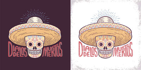 Skull in a sombrero decorated with patterns - a symbol of the day of the dead. Dia de los muertos character. Worn texture on separate layer. Illustration