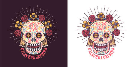 Calavera catrina Dia de los muertos sugar skull symbol with flowers. Day of thw dead retro illustration.