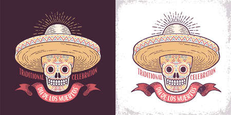 Dia de los muertos sugar skull symbol in sombrero retro illustration. Day of the Dead is a Mexican holiday. Worn texture on separate layer. Stock Illustration - 110946335