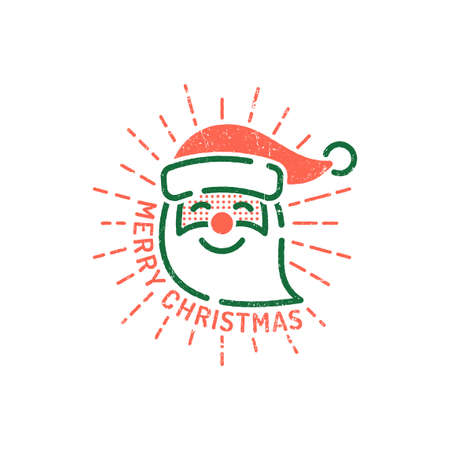 Santa Claus head and inscription Merry Christmas! Retro style retro outline hipster emblem. Worn texture on separate layer.