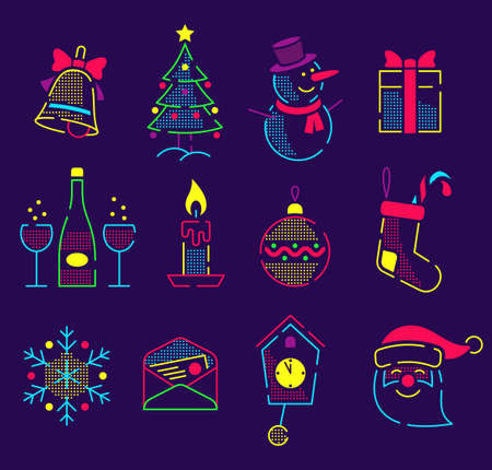 Set of neon bright icons for the new year and christmas. Xmas colored linear pictograms - Santa Claus and attributes. Illustration