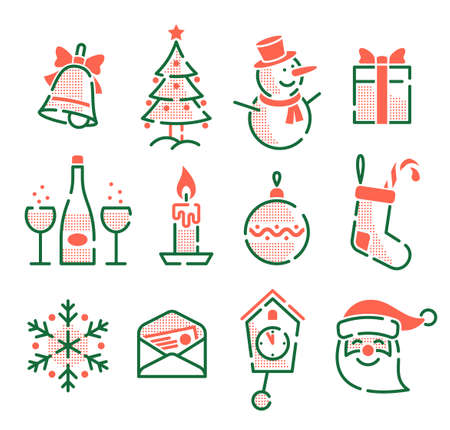 Set of Christmas New Year icons. Retro vintage outline style. Illustration