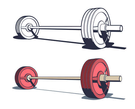 Weightlifting, powerlifting or bodybuilding barbell. Pseudo 3d vector illustration in retro stamp style.