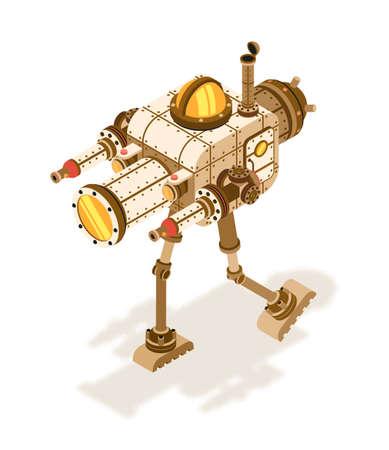 Robot steampunk isométrico o máquina de combate con intrincados dispositivos, tubos en dos patas.