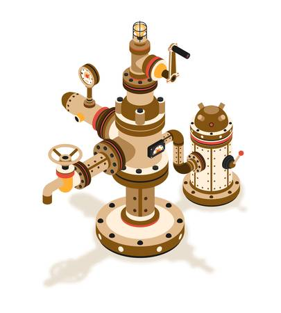 Isometric Steampunk  fantastic mechanism for supplying a fluid device with pipes,  faucet,  tank, sensors,  valve and  light bulb.