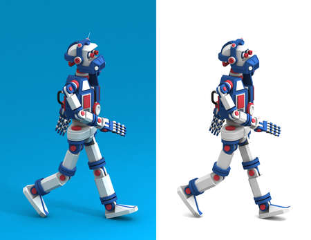 Funny humanoid multicolored robot is walking - side view. 3d render