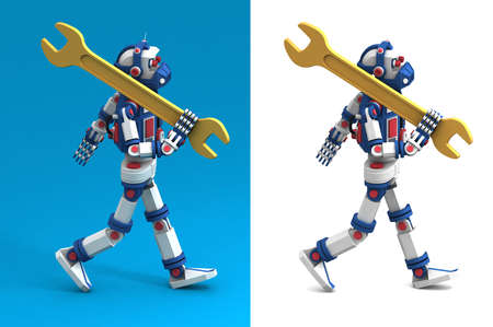 Robot like a toy comes with spanner on his shoulder. Stock Photo