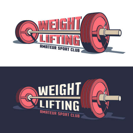 Weightlifting or powerlifting sports vintage emblem with a barbell in 3D style and inscriptions Illustration