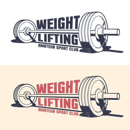 Weightlifting athleticism vintage emblem with barbell in stamp style. Grunge worn textures on separate layer Иллюстрация
