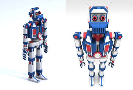 3d model of the robot toy-like frontal view.