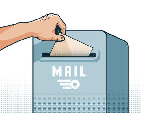 La mano maschile mette una lettera nella cassetta delle lettere Archivio Fotografico