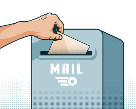 Male hand puts a letter in the mailbox