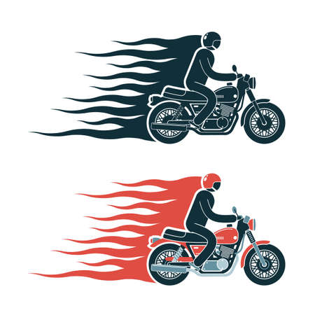 Simple biker pictogram emblem with a motorcycle racer and flames