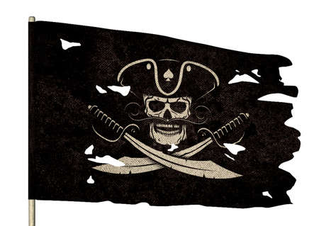 Waving torn pirate flag with a jolly roger