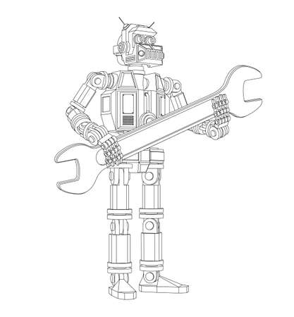 Highly detailed Android robot with a wrench Illustration