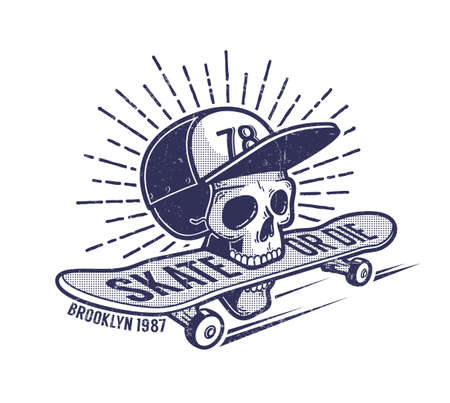 Skull in baseball cap keeps skateboard in his mouth