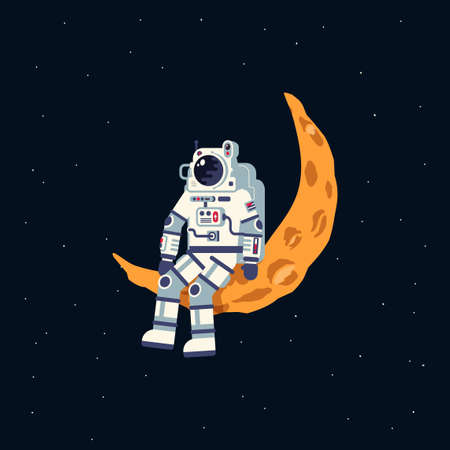 An astronaut in a spacesuit sits on the moon crescent Illustration
