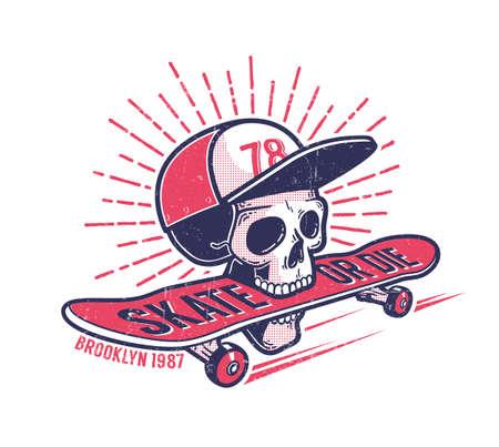 Genial monopatín juvenil auténtico emblema retro callejero con calavera en gorra de béisbol