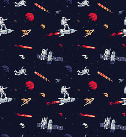 Seamless space pattern with astronauts, rockets, satellites and planets