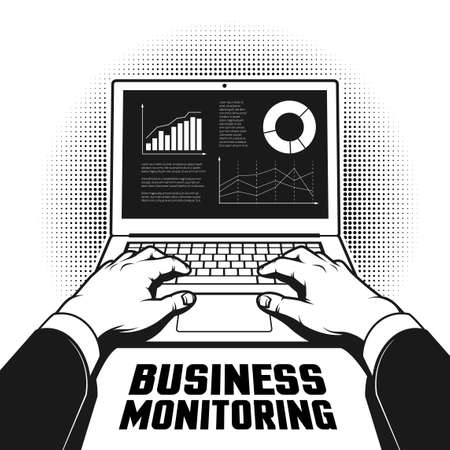 The hands of a businessman on a laptop with financial graphs and charts on the screen. Retro monochrome illustration in pop art style.