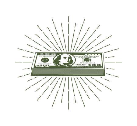 Bundle of hundred dollar bills and retro hipster sunburst around Illustration